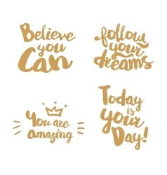 Hand lettering with gold color vector image vector image