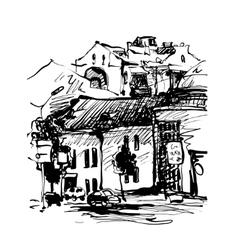 original black and white digital sketch of Kyiv vector image vector image