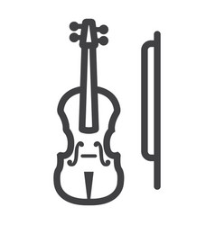 violin line icon music and instrument vector image vector image