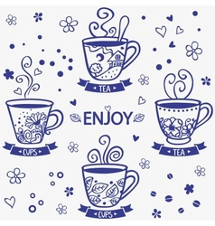 cups silhouette vector image vector image