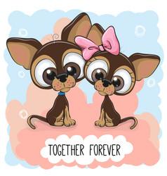 Cute cartoon puppies boy and girl vector