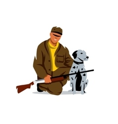 Hunting hunter with dog cartoon vector