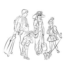 Tour group tourists vector image