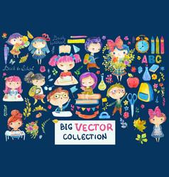 welcome back to school cute watercolor school kids vector image