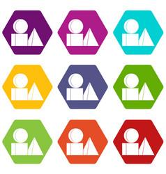 box of bricks icon set color hexahedron vector image