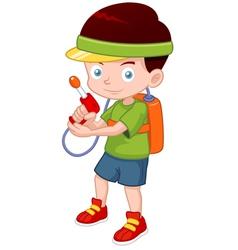Cartoon boy with toy gun vector image vector image
