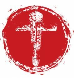 Christian cross grunge stamp vector