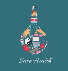 medical enema with alternative medicine icons vector image vector image