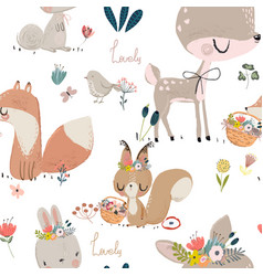 seamles pattern with cute animals vector image vector image