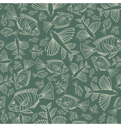 Seamless texture with fishes vector image vector image