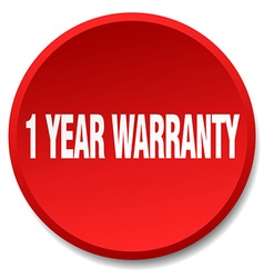 1 year warranty red round flat isolated push vector