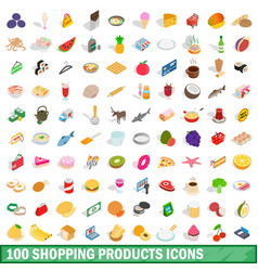 100 shopping products icons set isometric style vector