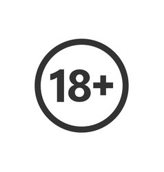 18 plus icon in flat style adult only on white vector