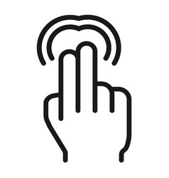 2 finger double tap line icon touch and gestures vector image
