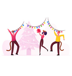 2020 new year party celebration group cheerful vector image