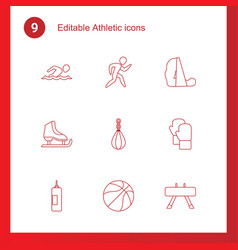 9 athletic icons vector
