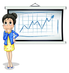 A businesswoman thinking in front of the vector image