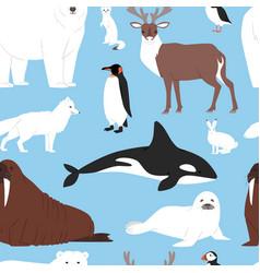 Arctic animals cartoon polar bear or vector
