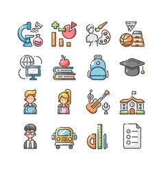 Back to school outline color icons set vector
