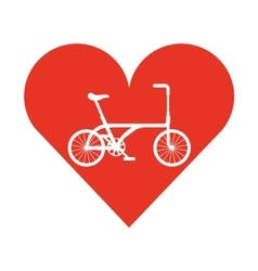 bicycle vehicle style with heart isolated icon vector image
