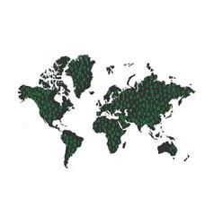 Binary code data on world map vector