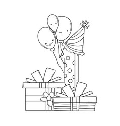 Birthday gift boxes and number in black and white vector