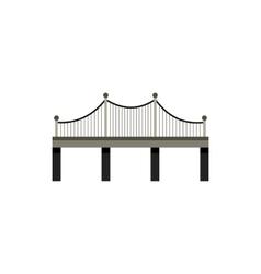 Black bridge with railings icon flat style vector image