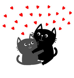 Black gray cat hugging couple family red hearts vector