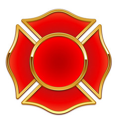Blank fire department logo base red and gold vector