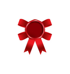 blank red wax seal with red ribbon bow behind it vector image