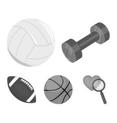 Blue dumbbell white soccer ball basketball vector