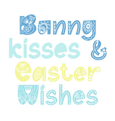 Bunny quotes happy easter colorful lettering vector