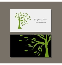 Business card design green tree vector image