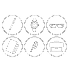 Business detailed linear icons set vector image