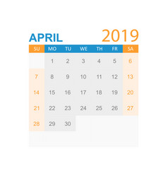 calendar april 2019 year in simple style calendar vector image