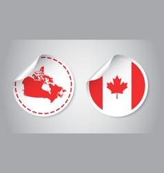 canada sticker with flag and map label round tag vector image