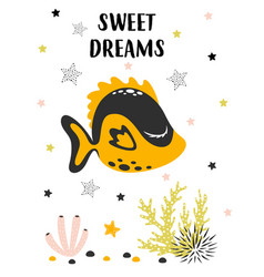 Card with cute fish isolated on white sweet dreams vector