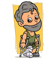 Cartoon bearded boy character with broken leg vector