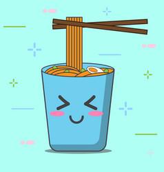 Cartoon noodle blue cup vector