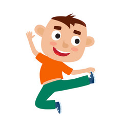 Cartoon of little brunet boy vector