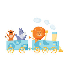 Cartoon set with different animals on trains fox vector