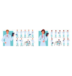 cartoon young woman man characters in hospital vector image