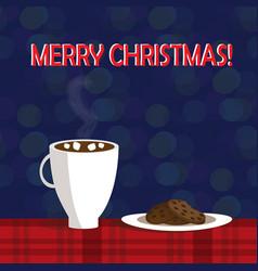 christmas of mug with hot cocoa and vector image