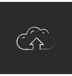 Cloud with arrow up icon drawn in chalk vector