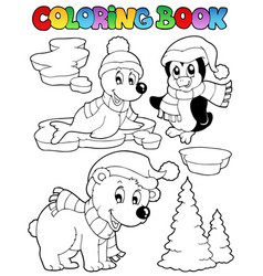 coloring book wintertime animals 2 vector image