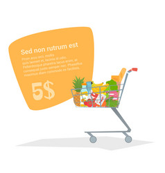 Complete shopping cart truck with fresh products vector