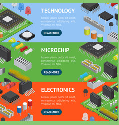 computer electronic circuit board component banner vector image