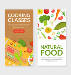 cooking classes natural food landing page vector image