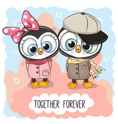 Cute cartoon penguins boy and girl vector