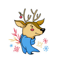 cute christmas deer reindeer portrait vector image
